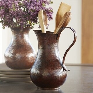 Los Olivos Solid Hammered Antique Copper Hand Crafted Pitcher