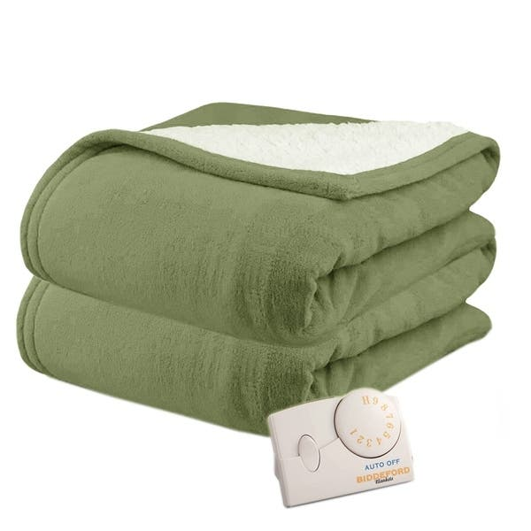 Shop Biddeford 2060 9032138 633 Microplush Sherpa Electric Heated Blanket Twin Sage Green Overstock 18226166