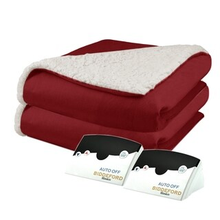 Biddeford 6003-9051136-300 Micro Mink and Sherpa Heated Blanket Queen Brick