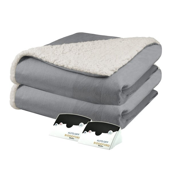 Biddeford 6003 9051136 902 Micro Mink And Sherpa Heated Blanket Queen Grey Free Shipping Today 18226192