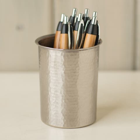 Handcrafted Brushed Nickel Small Utensil Holder
