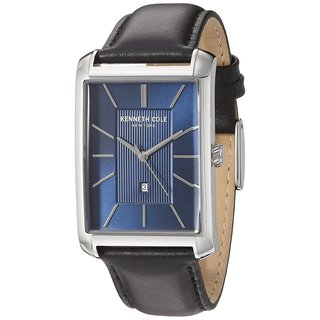 Kenneth Cole New York Men's 10030830 Black Leather Blue Dial Dress Watch