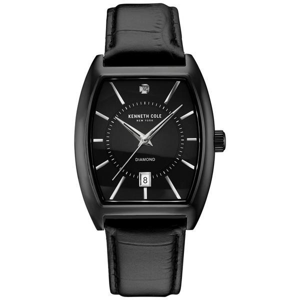 Kenneth Cole New York Men's Diamond All Black Tonneau Leather Strap Date Watch
