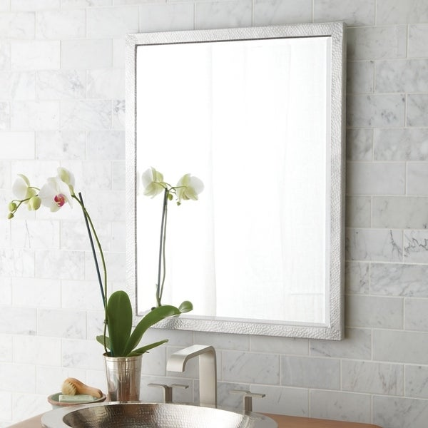 Divinity Hammered Aluminum Small Rectangular Mirror - Silver - A/N