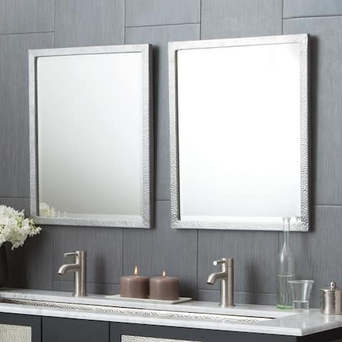 Divinity Hammered Aluminum Small Rectangular Mirror - Silver