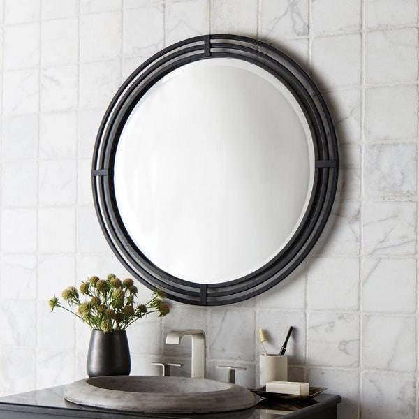 Asana Black Round Wrought Iron Mirror - N/A