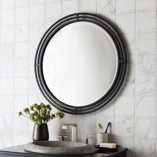 Native Trails Asana Black Wrought Iron Round Mirror