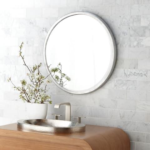 Divinity Hammered Aluminum Round Mirror - Silver
