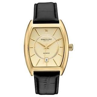 Kenneth Cole New York Men's Diamond 10030818 Gold-tone Tonneau Black Leather Strap Watch