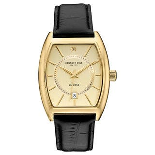 Kenneth Cole New York Men's Diamond 10030818 Gold-tone Tonneau Black Leather Strap Watch|https://ak1.ostkcdn.com/images/products/18226366/P24367072.jpg?impolicy=medium