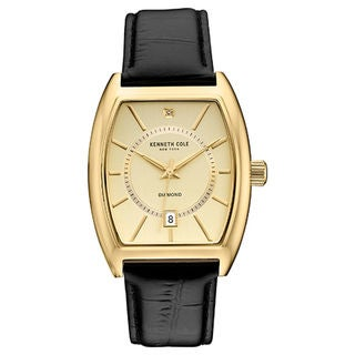 Kenneth Cole New York Men's Diamond 10030818 Gold-tone Tonneau Black Leather Strap Watch