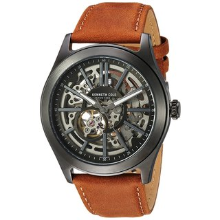 Kenneth Cole New York Men's Automatic 10030817 Skeleton Brown Leather Strap Watch