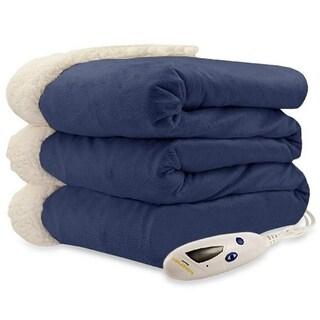 Biddeford 4480-9064114-500 Micro Mink and Sherpa Heated Throw Blanket Denim