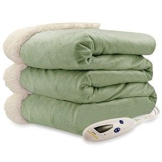 Biddeford 4480-9064114-633 Micro Mink and Sherpa Heated Throw Blanket Sage