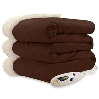 Biddeford 4480-9064114-711 Micro Mink and Sherpa Heated Throw Blanket Chocolate