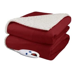 Biddeford 4480-9064114-300 Micro Mink and Sherpa Heated Throw Blanket Brick