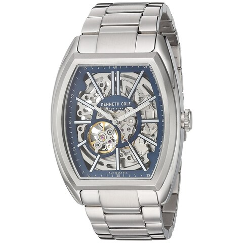Kenneth Cole New York Men's Automatic Tonneau 10030812 Skeleton Stainless Steel Watch
