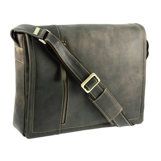 Visconti Oiled Leather Distressed Large Laptop Messenger Bag