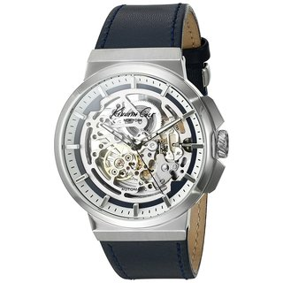 Kenneth Cole New York Automatic 1022316 Skeletal Dial Navy Leather Strap Watch