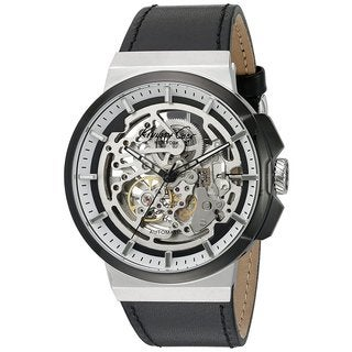 Kenneth Cole New York Automatic 1022314 Skeletal Dial Black Leather Strap Watch