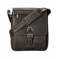 Visconti Link Distressed Genuine Leather Messenger Crossbody Bag