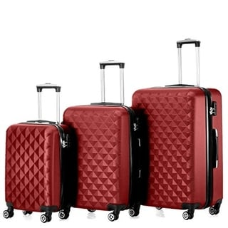 "Timmari Hard Lightweight Expandable ABS Luggage Set  28"", 24"", 20"""