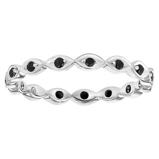 1/5ct TDW Black Diamond Eternity Stackable Band Ring in 10K White Gold