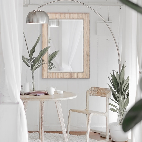 Allan Andrews Sawyer Wood Plank Rectangle Wall Mirror - White Washed