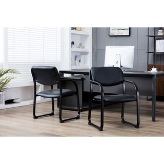 Porthos Home Stackable Office Chair With PVC Upholstery And Arm Res