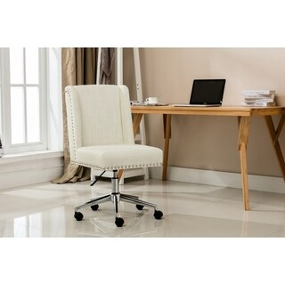 Porthos Home Office Chair With Fabric Upholstery, Studded Design (2 options available)