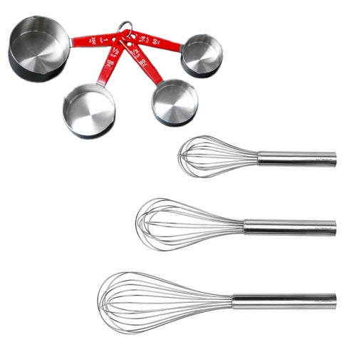 7pc Bake Set: 3pc SS Whisk & 4pc SS Meas Cup Sets