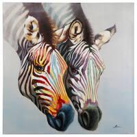 "Yosemite Home Decor ""Zebras In Color"" Original Hand-Painted Wall Art"