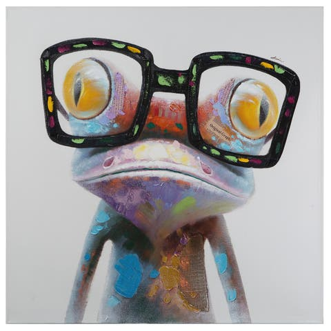 "Yosemite Home Décor ""Hipster Froggy I"" Original Hand-Painted Wall Art - multi"