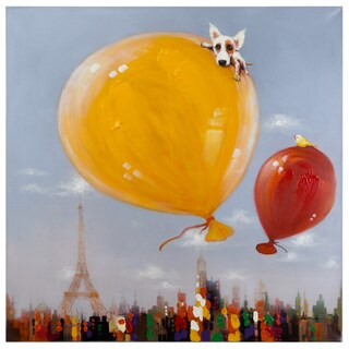 "Yosemite Home Décor ""Balloons Over Paris"" Original Hand-Painted Wall Art - multi"