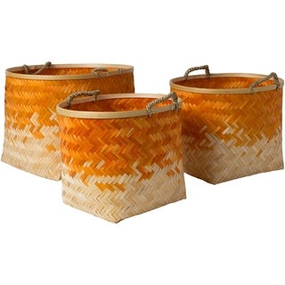 Ovidio Bright Orange Natural Fiber Modern Decorative Basket (Set of 3)