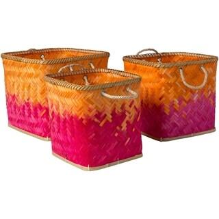 Tavish Bright Orange Natural Fiber Modern Decorative Basket (Set of 3)