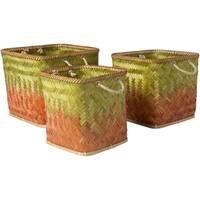 Tavish Lime Natural Fiber Modern Decorative Basket (Set of 3)