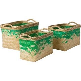 Matvei Emerald Natural Fiber Modern Decorative Basket (Set of 3)