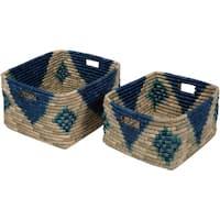 Elaine Navy Seagrass Bohemian Decorative Basket (Set of 2)