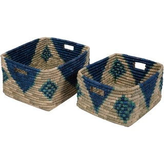 Elaine Navy Seagrass Bohemian Decorative Basket (Set of 2)