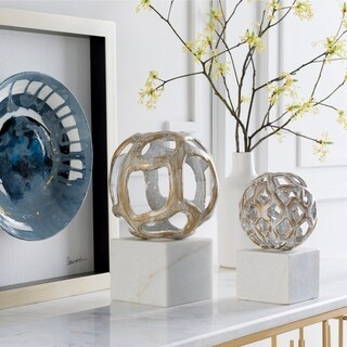 "Artemio White Marble Transitional 10.5"" Decorative Sculpture"