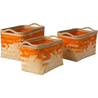 Matvei Bright Orange Natural Fiber Modern Decorative Basket (Set of 3)