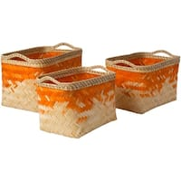 Matvei Bright Orange Natural Fiber Modern Decorative Basket (Set of 3)