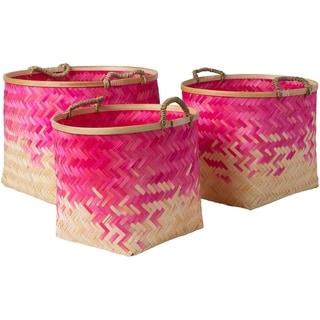 Ovidio Bright Pink Natural Fiber Modern Decorative Basket (Set of 3)
