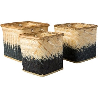 Tavish Black Natural Fiber Modern Decorative Basket (Set of 3)
