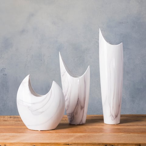 Dobri White Ceramic Modern Decorative Vase (Set of 3)