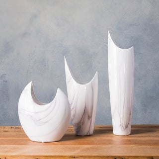 Dobri White Ceramic Modern Decorative Vase (Set of 3)