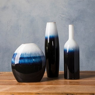 Alscher Blue Ceramic Modern Decorative Vase (Set of 3)