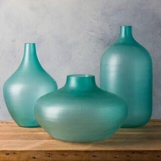 Eudes Teal Glass Modern Decorative Vase