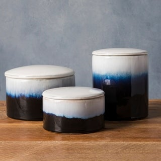 Itziar Blue Modern Ceramic Decorative Jar (Set of 3)